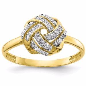 10K Polished Diamond Ring